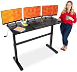 Stand Steady Tranzendesk 55 Inch Standing Desk | New & Improved! | Height Adjustable Sit to Stand Workstation with Removable Crank Handle | Ergonomic Desk Great for Home & Office! (55