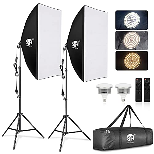 SH Softbox Lighting Kit Studio Lights LED Photography Lighting Equipment with 2 Remote Dimming 6000K Bulbs for Photography, Vlogging, Podcast, Video, Live Stream, Film etc.