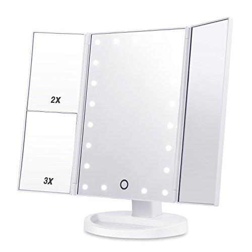 HAMSWAN Specchio Trucco, 3 Lati Specchio per Trucco, Touchscreen LED Dimmerabile Pieghevole Rotazione Regolabile a 180°, Ingranditore 2X 3X e 10X. Specchio Ingranditore per la Bellezza della casa