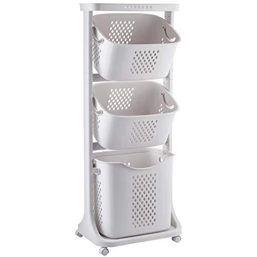 Yorbay Wäschekorb auf Rollen, Wäschesortierer mit 4 Stockwerke, 3 Aufbewahrungskörbe, Wäschesammler, Wäschewagen, Wäschebehälter für Kleidung und Spielzeug, 109x33x44 cm, 15KG belastbar, Beige