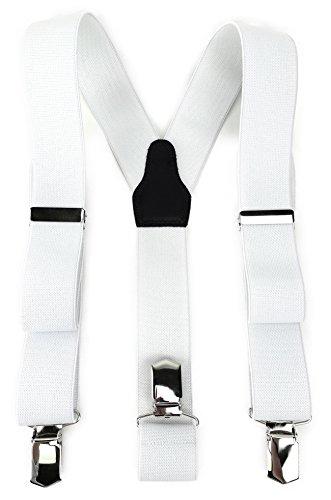 TigerTie Unisex Hosenträger in Y-Form mit 3 extra starken Clips - Farbe in weiß einfarbig Uni - hochwertige Verarbeitung - Breite 35 mm