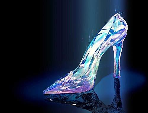 SHENQI- Póster Zapatos De Cristal De Cenicienta -Kit De Pintura De Diamantes 5D,Bordado De Diamantes De Imitación,Cuadros Punto De Cruz Kit Manualidades Para Decor De La Pared