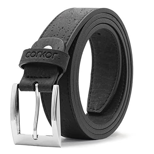 Corkor Vegan Belt Cork Leather - Causal Dress for Men - Classic Single Prong Buckle Black Color Large Size
