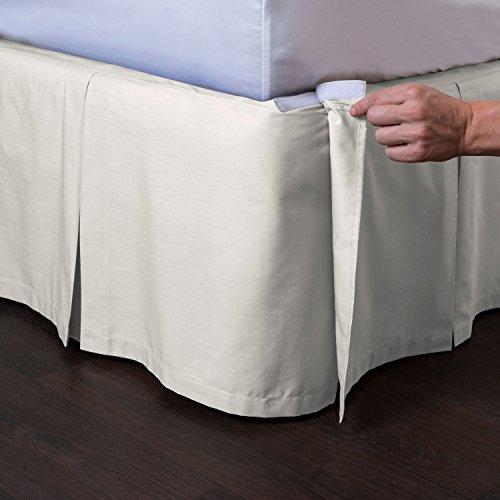 "ShopBedding Ashton Detachable Bedskirt (Queen Size, Cream, 21"" Drop) - Easy on/Easy Off Pleated Bed Skirt"