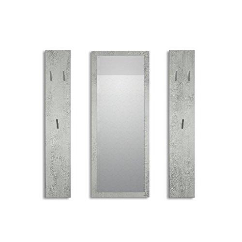 Vladon Garderobenset Garderobe Spot in Beton Oxid Optik