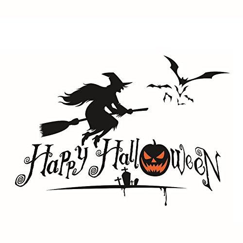 JUNGEN Pegatina de pared para Halloween Bruja Papel pintado Vinilo Extraíble Adhesivos Decorativos para Ventana, vidrio, puerta, pared