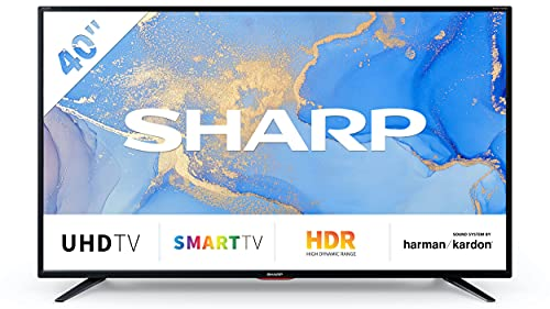 Sharp Aquos 40BJ6E - 40  Smart TV 4K Ultra HD, HDR Slim, Wi-Fi, DVB-T2 S2, 3840 x 2160 Pixels, Nero, suono Harman Kardon, 3xHDMI 2xUSB, 2021 [Classe di efficienza energetica A]