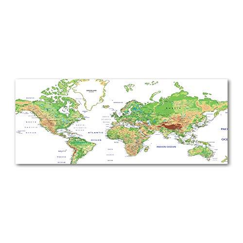 Tulup Acrylglas - Wandkunst - Bild auf Plexiglas Deko Wandbild hinter Kunststoff/Acrylglas Bild - Dekorative Wand für Küche & Wohnzimmer 125 x50 cm - Landkarten & Flaggen - Weltkarte - Grün