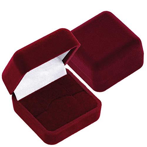 EYS JEWELRY Schmuck-Etui für Ring Ohrstecker 40 x 40 x 28 mm Samt bordeaux-rot Ring-Box Schachtel Schatulle Geschenk-Verpackung