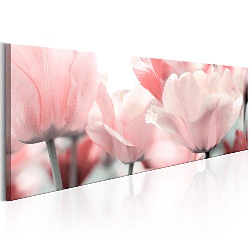 murando - Cuadro 120x40 - impresión en Material Tejido no Tejido - impresión artística fotografía Imagen gráfica decoración de Pared - Flores Tulipan Rosa b-B-0083-b-a