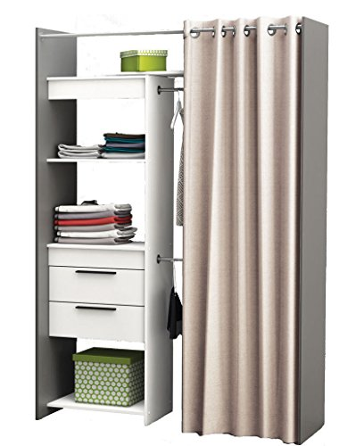 habeig Begehbarer Kleiderschrank #245325 Vorhang Schrank Weiss Wandschrank Variable Breite NEU