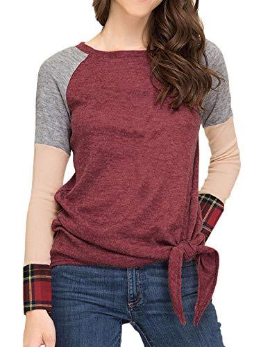 Shirt dames lange mouwen splits geruit ronde hals bovenstuk vrouwen jongens chique mode herfst lente elegante casual basic T-shirt blouse tops