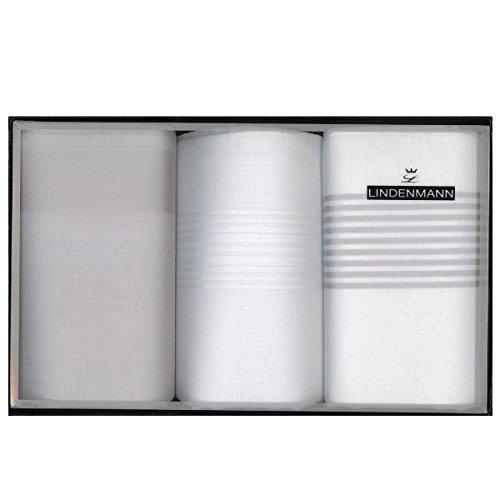 Lindenmann Handkerchiefs for men, 3-pack, white-grey, 50024-001