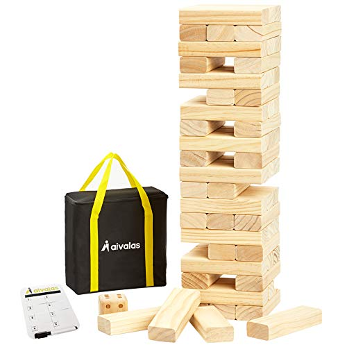 Aivalas 56 PCS Giant Tumble Tower, Wooden Stacking Block Game with Scoreboard&Carrying Bag, Classic Outdoor Backyard Lawn Game for Kids Adults Family (Up to 4.2 FT)