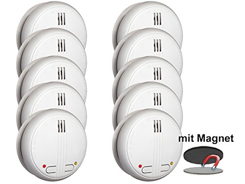 10er SET vernetzbare Funkrauchmelder + Magnethalter - 20 Melder schnurlos vernetzbar bis zu 40 Metern!