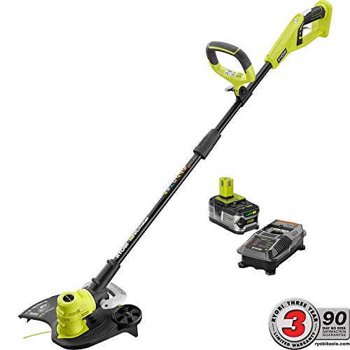 Best Prices! RyobiOne+ 18-Volt Lithium-Ion Cordless String Trimmer/Edger - 4.0 Ah Battery and Charge...