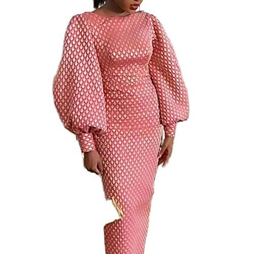 Hopereo Afrikanische Frauen Vintage Laterne Ärmel Kleid Rosa Druck Retro Vestidos Bodycon Paket Hüfte Herbst Winter Party Kleid Lang Elegant Gr. M, rose