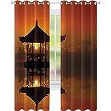 Cortinas térmicas con aislamiento, puesta del sol en Bali Beach Bungalow Reflection Romance Horizon Summer Getaway Cloudscape, W52 x L72 Cortinas opacas para sala de estar, color naranja y negro