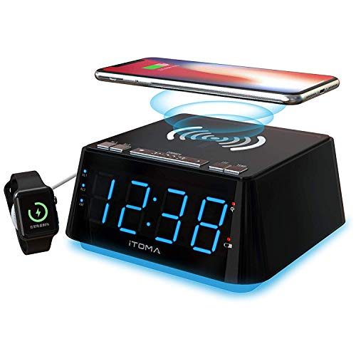 Alarma de Carga inalámbrica con 1.2' Indicador LED Azul Hielo, Alarma Doble, Control de atenuación de 4 etapas, Sensor de Temperatura Ambiente, Cargador inalámbrico iPhone X, Cargador USB (CKS801)