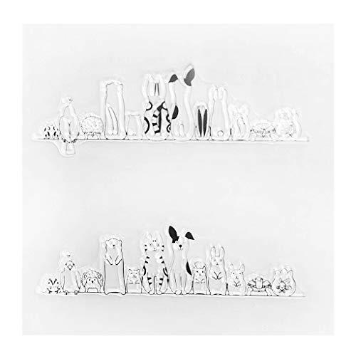 ECMQS Animals DIY Transparente Briefmarke, Silikon Stempel Set, Clear Stamps, Schneiden Schablonen, Bastelei Scrapbooking-Werkzeug