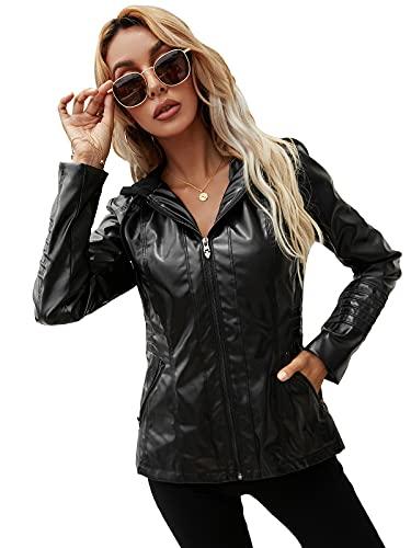 UMore Mujer Chaqueta Cuero Sintético Biker Chaqueta Saco Blazer con Capucha Leather Jacket Chaqueta para Mujer Abrigo con cremallera