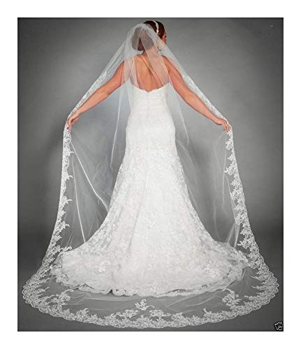 Bridal Wedding Veils One Layer Tulle White Ivory Lace Edge Wedding Veil Elegant Long Bridal Veils Voile Mariage Wedding Accessories Gorgeous Bridal Tulle (Color : Ivory, Item Length : 300cm)