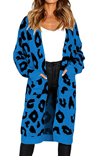Angashion Women's Long Sleeves Leopard Print Knitting Cardigan Open Front Warm Sweater Outwear Coats with Pocket Blue L