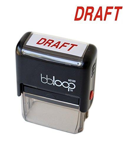 """BBloop Stamp""""Draft"""" Self-Inking. Rectangular. Laser Engraved. RED"""
