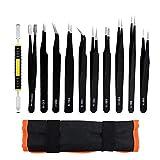 ACTGON Pinzas de Precisión Kit, 11Pcs ESD Anti-estática Acero Inoxidable Pinzas para Electrónica, Joyería, Trabajo de Laboratorio, Artesanía