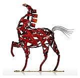 LIUYULONG Estatua de metal hueco tejido estatua animal figuras decoración del hogar caballo escultura jardín joyería oficina escritorio adornos artesanía regalos estatuas