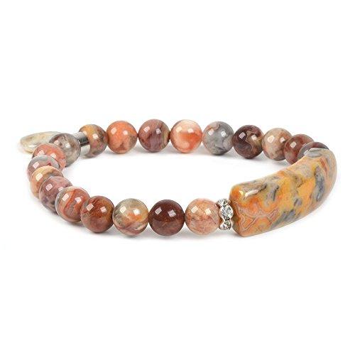 Natural Crazy Lace Agate Gem Semi Precious Gemstone Love Heart Charm Stretch Bracelet