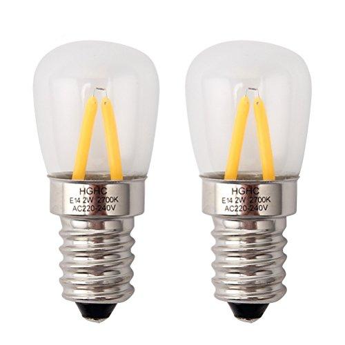 Bombilla nevera E14, edison bombilla LED 2W (Equivalente a 25W), 200LM, luz cálida 2700k(2- pack)