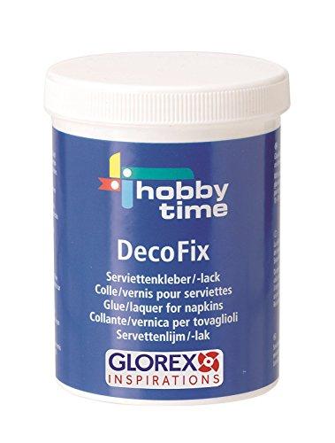 Glorex DecoFix Serviettenkleber 250ml Serviettenlack, Kleber, Mehrfarbig, 10 x 7 x 7 cm