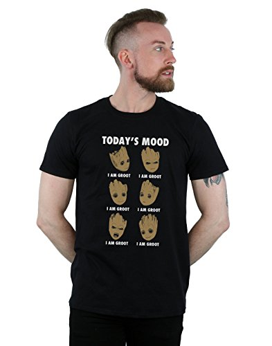 Marvel Hombre Guardians of The Galaxy Groot Today'S Mood Camiseta Negro Large