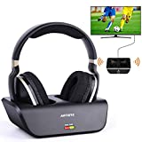 Wireless Headphone Over Ear For Smart TV Watching with Optical, Digital Stereo Headsets with Charging Dock Support 2.4GHz RF Transmitter No Latency 20H Playtime for Samsung/ Plasma/ LG/ Vizio TV