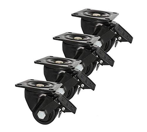 Ruote girevoli, rotelle a piastra, set di 4, 2,5 pollici, rotelle industriali con attacco a stelo filettato, ricambio per carrelli, mobili, carrello, banco da lavoro, carrello, capacità di carico tota