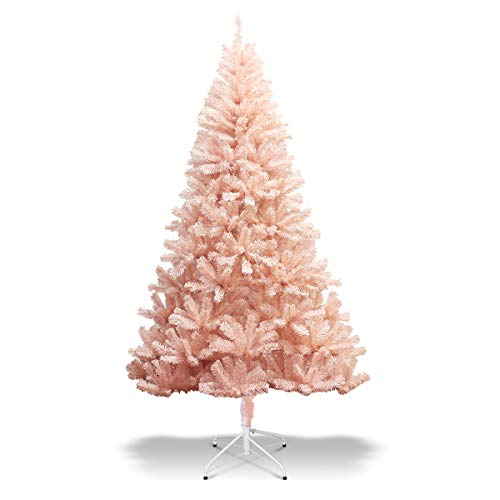 Goplus Pink Artificial Christmas Tree, 6ft Premium Unlit Hinged Spruce Full Tree, with Metal Stand, Easy Assembly, for Indoor and Outdoor Use (6ft)