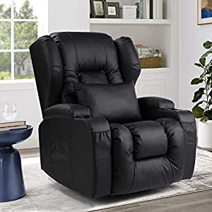 URRED Swivel Rocker Recliner Chairs – Glider Chair for Nursery Rocking Chairs with Lumbar Pillow, 2 Cup Holders, Side & Front 4 Pockets, Wingback PU Leather