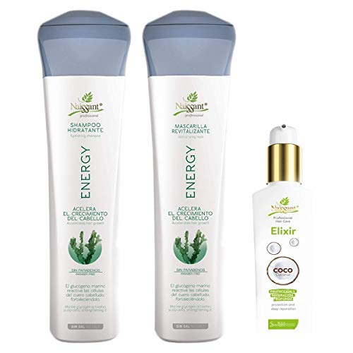 Naissant Set Shampoo , Treatment Mask and Coconut Oil. Hair Growth Accelerator and Hair Strengthener Without Salt and Parabens. (Energy).