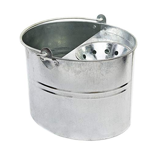 Cottam Cubo de fregona galvanizado con escurridor, plateado, 11 litros