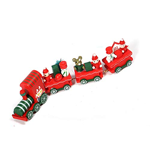 Upgraded Version Christmas Train, Christmas Toy Train with Snowman Christmas Tree Bear, Christmas Ornaments Window Decoration Wooden Crafts, Wooden Mini Train Kids Gift Toys for Christmas Party(Red)