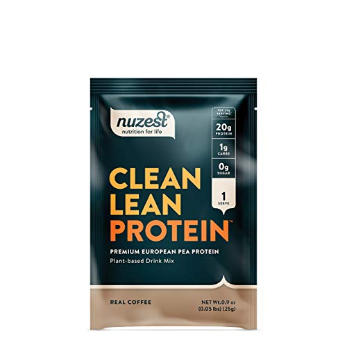 Nuzest Clean Lean Protein - Premium Vegan Protein Powder, Plant Protein Powder, European Golden Pea Protein, Dairy Free, Gluten Free, GMO Free, Real Coffee, Single Serving