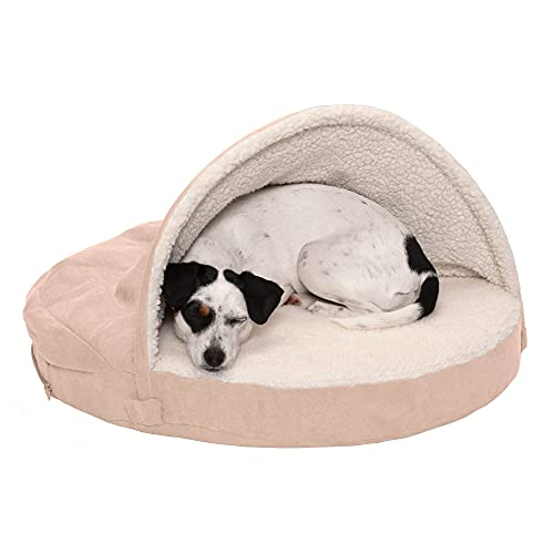 Furhaven Pet Dog Bed - Orthopedic Round Cuddle Nest Faux Sheepskin Snuggery Blanket Burrow Pet Bed with Removable Cover for Dogs and Cats, Cream, 26-Inch
