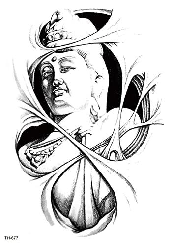 Estatua De Buda Guanyin 15X21cm-3Pcs Lote Grandes Tatuajes Temporales 3D Arte Corporal Brazo Grande Patrn De Puntos Impermeable Extrable Para Hombres Brazo Mujeres