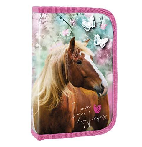 Theonoi Estuche para lápices con diseño de caballo, 2 compartimentos, doble tapa, estuche para lápices, estuche para lápices, con relleno, diseño de caballo 2A