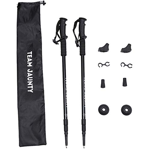 Haluoo Telescopic Extending Adjustable Antishock Hiking Walking Poles 2 Pack Lightweight Portable Antiskid Hiking Stick Adjustable Alpenstock for Climping Camping Mountaining Backpacking (Black)
