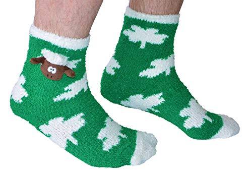 """Carrolls Irish Gifts Grüne Fleece-Socken mit weißen Punkten und flauschigem Schafskopf von """"Seamus das Schaf"""""""