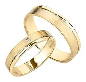 Ardeo Aurum Trauringe aus 375 Gold Gelbgold mit 0,02 ct Diamant Brillant hochglanzpoliert-matt Eheringe Paarpreis