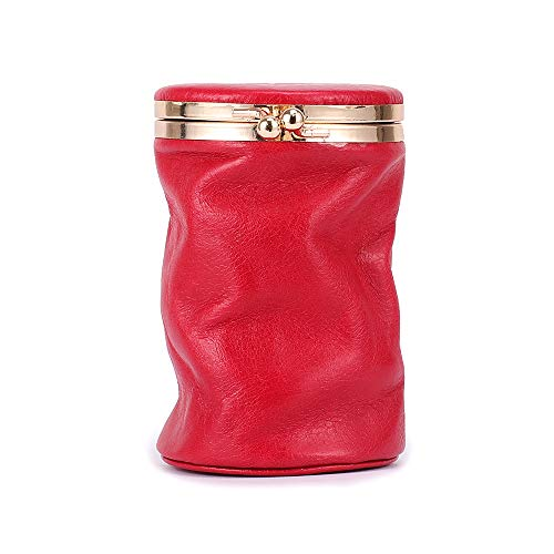 PPuujia Caja de Maquillaje PEQUEÑA PEQUEÑA PORRIBLE DE Cuero Genuino PORRIBLE Bolsa de Almacenamiento de lápiz Labial con Perfume de Perfume Organizador de Bolsillo Mini Bolso cosmético (Color : Red)