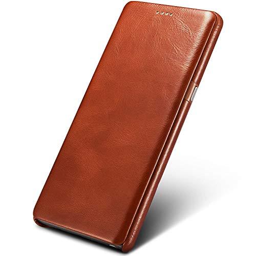 Mobiskin Hülle passend für Samsung Galaxy Note 8 / SM-N950, Handyhülle mit echtem Leder, Hülle, Schutzhülle, dünne Handy-Tasche, Slim Cover, ohne Magnet, Vintage Braun